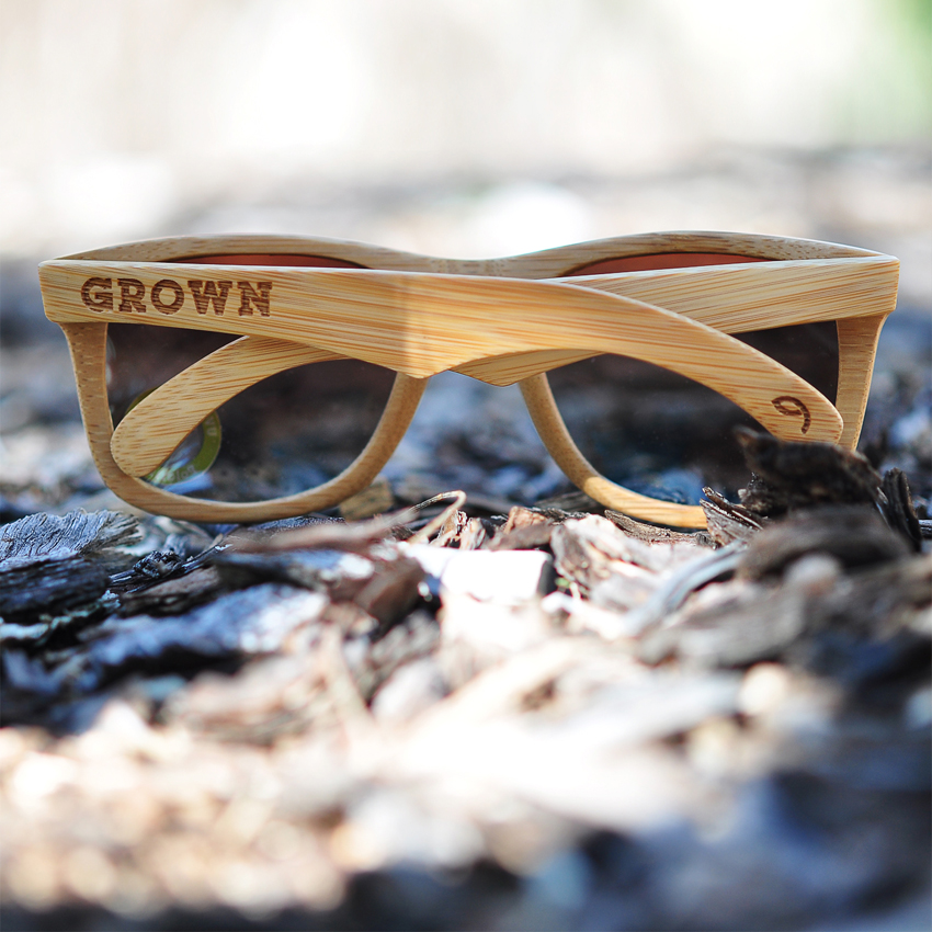 GROWN Bamboo sunglasses: Stained Bamboo Kicker style